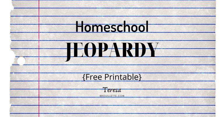 Homeschool Jeopardy {Free Printable}