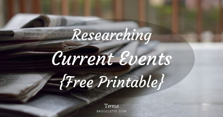 Researching Current Events {Free Printable}