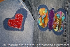 DIY colorful patches to brighten hand me down jeans